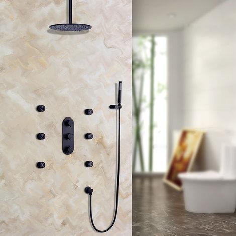 Sistema de ducha de lluvia termostático montado en el techo con válvula de ducha estándar con soporte de pared 200 mm