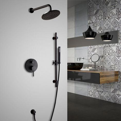 Set de ducha termostático redondo moderno para montaje en pared en latón macizo y ducha de mano en acabado negro Válvula de ducha estándar Barra de ducha 300 mm