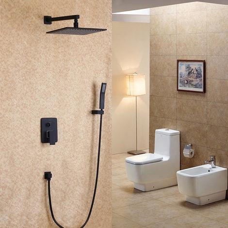Ducha de lluvia fijada a la pared negra y set de ducha con ducha de mano en latón macizo 200 mm