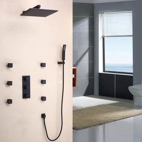 Set de ducha de pared termostática en latón macizo acabado en negro liso con válvula de ducha termostática de 200 mm.