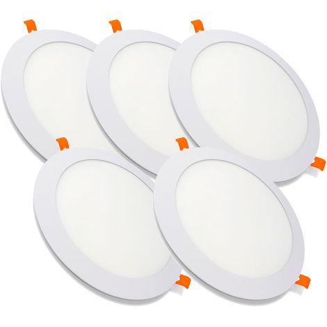 Pack 5 Downlight LED Redondo Extrafino Encastrar ECOMAX 20W 6000K Blanco Frío