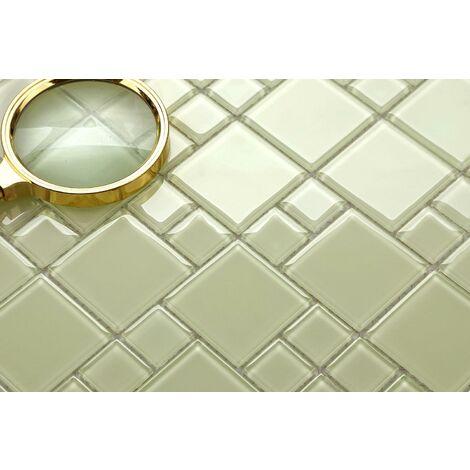 Light Green Glass Modular Mix Walls Borders Splashbacks Mosaic Tile Sheet MT0024
