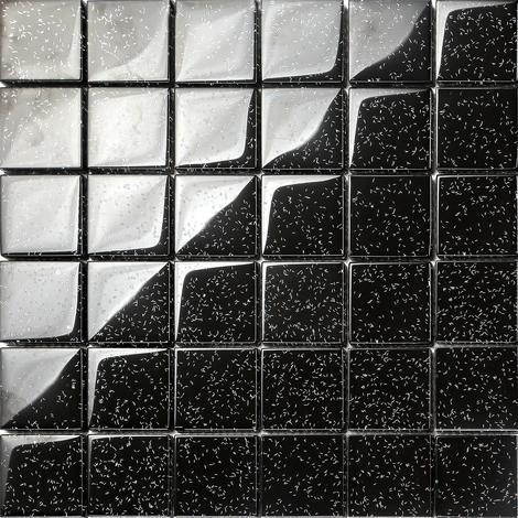 Black Glitter Glass Feature Walls Borders Splashbacks Mosaic Tiles Sheet MT0088