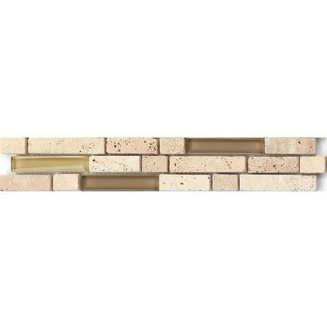 Beige Stone & Glass Mosaic Wall Tile Strips Border Strip Bathroom Bath MB0001