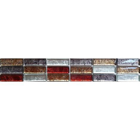 Red Gold Silver Foil Mix Glass Mosaic Wall Tile Strips Border Bathroom MB0006