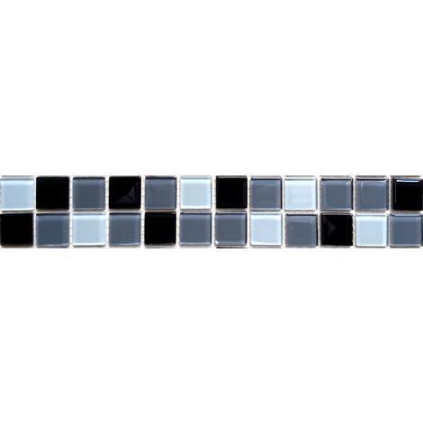 White Grey Black Glass Mosaic Wall Tile Strips Border Strip Bathroom Bath MB0013
