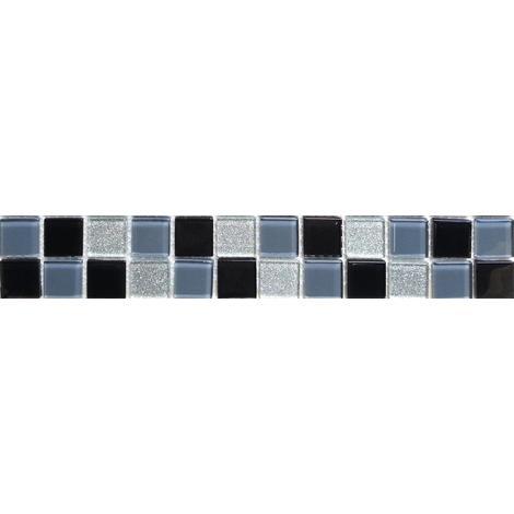 Black Grey & Silver Glitter Glass Mosaic Wall Tiles Strips Border Strip MB0014