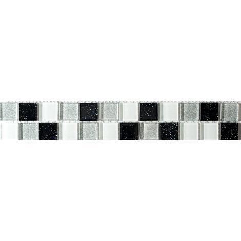 Black White And Silver Glitter Glass Mosaic Tiles Border Or Feature Strip MB0029