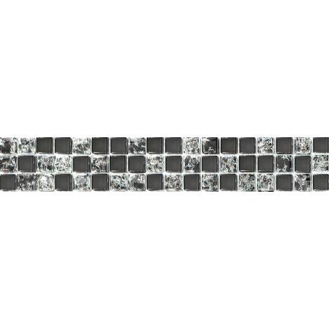 Black Clear Crackle Glass Mosaic Wall Tile Strips Border Strip Bathroom MB0043