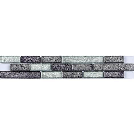 Black Silver Foil Mix Glass Mosaic Wall Tile Strips Border Bathroom Basin MB0093