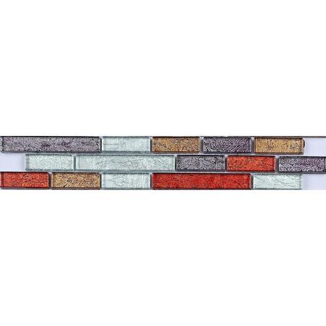 Autumn Mix Glass Mosaic Wall Tile Strips Border Bathroom Basin MB0094