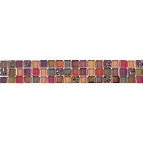 Iradescent Glass Mosaic Wall Tiles Border Strips Lusterous Red Orange Mix MB0099