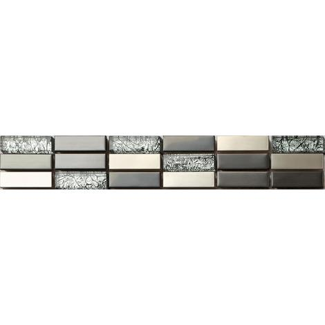 Stainless Steel & Foil Mix Glass Mosaic Wall Tile Strips Border Bathroom MB0102