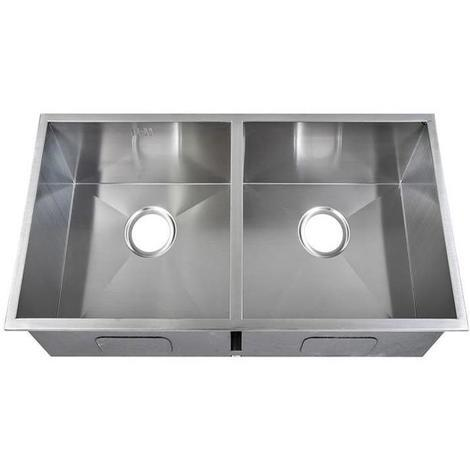 Handmade 2 Bowl Satin Stainless Steel Undermount Kitchen Sink 79.5x46cm DS019