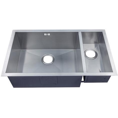 Handmade 1.5 Bowl Satin Stainless Steel Undermount Kitchen Sink 793 x 408 DS032L