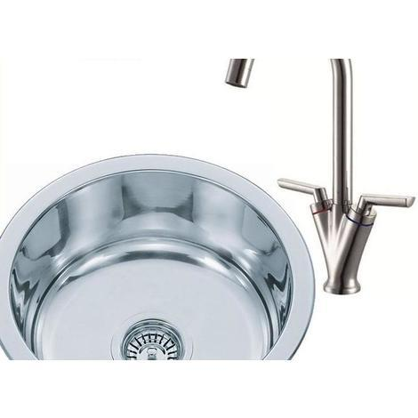Round Stainless Steel Inset Kitchen Sink & Mixer Tap Brushed Finish (KST101 bs)