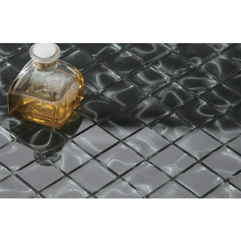 10cm x 10cm Black Glass with Grey Holographic Effect Glass Mosaic Tile Sample ( MT0135)