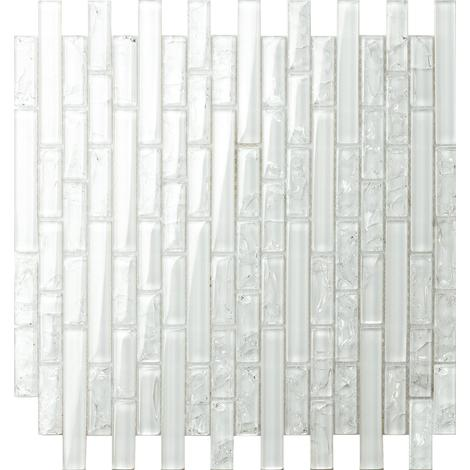 Clear Crackle and Plain Glass Mosaic Wall Tile Sheet (MT0140)