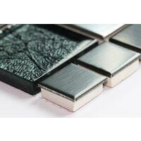 Metalic Random Mix Brushed Steel Black HongKong Glass Mosaic Tiles Sheet MT0002