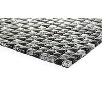 _¯_¯ Black Crackle And Plain Mix Glass Mosaic Wall Tiles 324 Piece Sheets MT0043