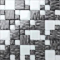 Graphite and White Combination Glass Mosaic Tiles Bathroom Splashback (MT0077)