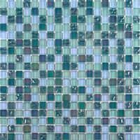 Iradescent Glass Mosaic Wall Tiles Bathroom Lusterous Green Blue Mix MT0097