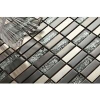 Metalic Random Mix Brushed Steel Black Hong Kong Glass Mosaic Tiles MT0102
