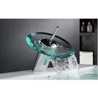Glass & Chrome Waterfall Style Bathroom Basin Mixer Taps & Waste (1027)