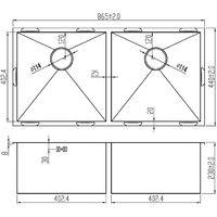 Handmade 2 Bowl Satin Stainless Steel Inset Kitchen Sink 86.5 x 44cm DS014