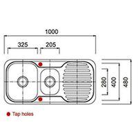 Reversible 1.5 Bowl Stainless Steel Kitchen Sink & Drainer & Waste Kit (E01 mr)