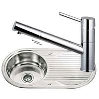Round Stainless Steel Kitchen Sink &Drainer & Chrome Pull Out Mixer Tap (KST024)