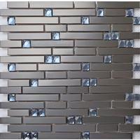 Black Steel and Blue Diamond Glass Brick Shape Mosaic Tile Sheet MT0136