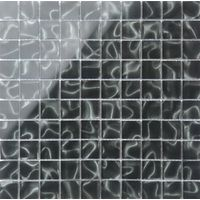 318 x 318mm Black Glass with Grey Holographic Effect Glass Mosaic Tile Sheet ( MT0135)