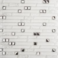 Superwhite Plain & Crackle and Silver Glass Brick Shape Mosaic Tile Sheet (MT0139)