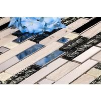 Polished Steel, Natural Stone and Silver Glass Brick Shape Mosaic Tile Sheet (MT0146)