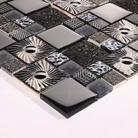 Black and Silver Patterned Glass and Steel Mosaic Tile Sheet (MT0149)