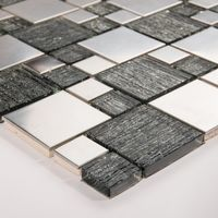 Silver Glass & Brushed Steel Mosaic Tile (MT0150)