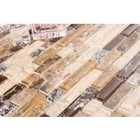 Brown and White Crackle Glass & Marble Mosaic Tile Sheet (MT0154)