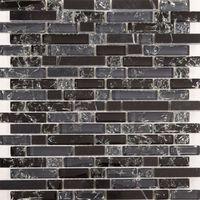 Black and Grey Glass & Black Stone Brick Shape Mosaic Tiles Sheet (MT0155)