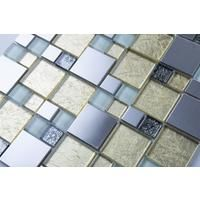 Gold & Silver Foil Glass & Brushed Stainless Steel Mosaic Tiles (MT0166)
