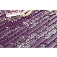 Purple Crackle and Plain Glass Mosaic Wall Tile Sheet (MT0168)