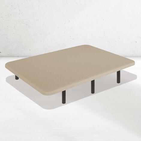 Base Tapizada Tejido 3D AIRFRESH | 5 Barras transversales | Estructura metálica 30x40mm | Tablero perforado | Patas 25 cm BEIGE | 90 x 190 cm