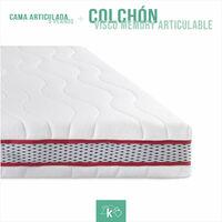 Pack Cama Articulada 5 planos + Colchón Visco Memory Articulable | 90 x 190 cm