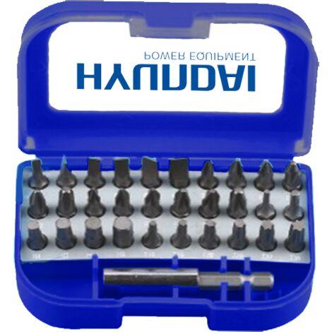 Bleu Hyundai HCO05 COFFRET D EMBOUTS POUR VISSEUSE 31 PIECES
