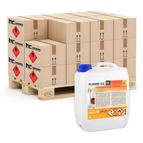 8 x 5 Litre bioéthanol 96,6% pour cheminées