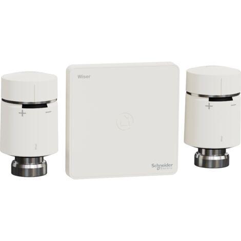 Wiser kit vannes thermostatiques connectées pour piloter les radiateurs à circulation d'eau chaude, Schneider Electric réf. CCTFR6906