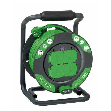 Enrouleur bricolage 25m HO5VVF 3G1,5 IP44 , Schneider Electric réf. IMT33145