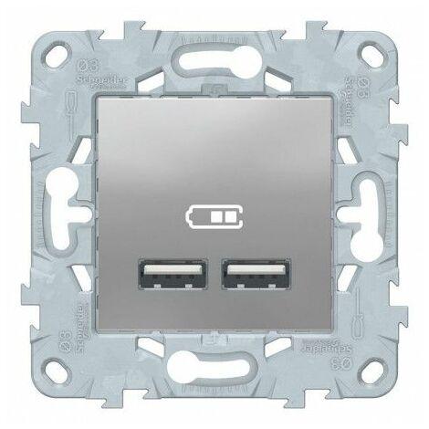 Unica - Double chargeur USB 2.0 Alu - 5Vcc 1A+2,1A - 2Mod, Schneider Electric réf. NU541830F