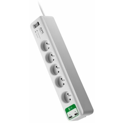Multiprise 5 prises + 2 ports USB parafoudre/parasurtenseur, Schneider Electric réf. PM5U-FR