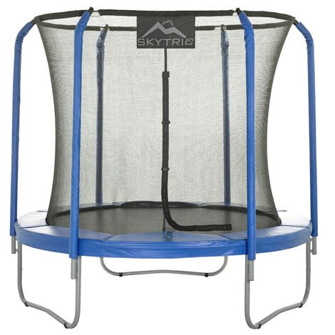 Skytric 8 FT. Large Trampoline with Top Ring Enclosure Set Equipped with Easy Assembly Feature   Garden & Outdoor Trampoline with Safety Enclosure Net   Ultra Durable Foam Mat and Safety Pads